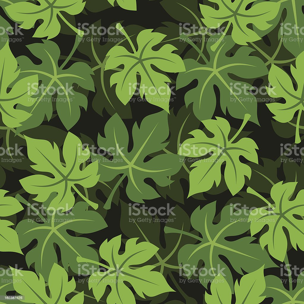 Seamless background with grape leaves. Vector illustration. vector art illustration