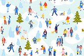 Pattern with crowd of male and female characters in winter city park. Christmas holidays background. Season concept.