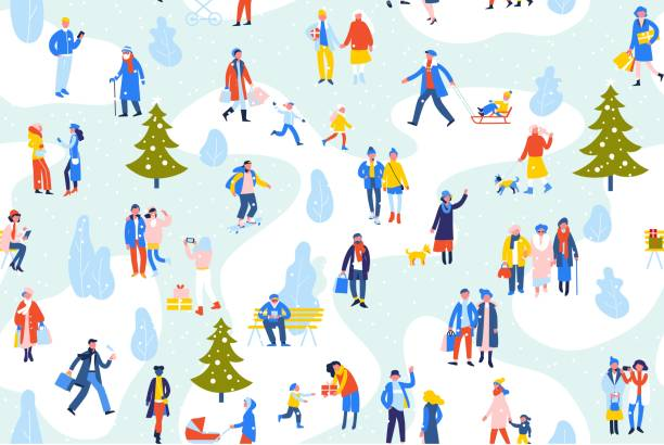 illustrazioni stock, clip art, cartoni animati e icone di tendenza di seamless background with group of people in different outdoor activity - walk, use smartphone, relax, shopping. - city walking background