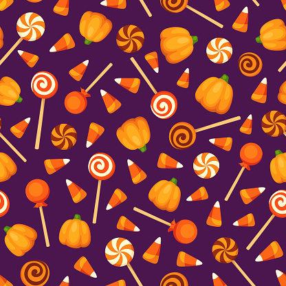 Seamless Background With Halloween Candies On Purple ...
