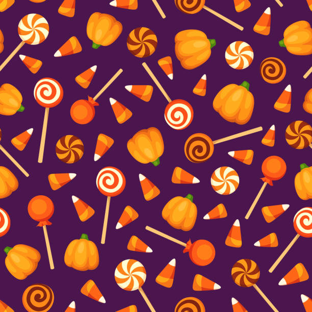seamless background with halloween candies on purple. vector illustration. - halloween candy stock illustrations
