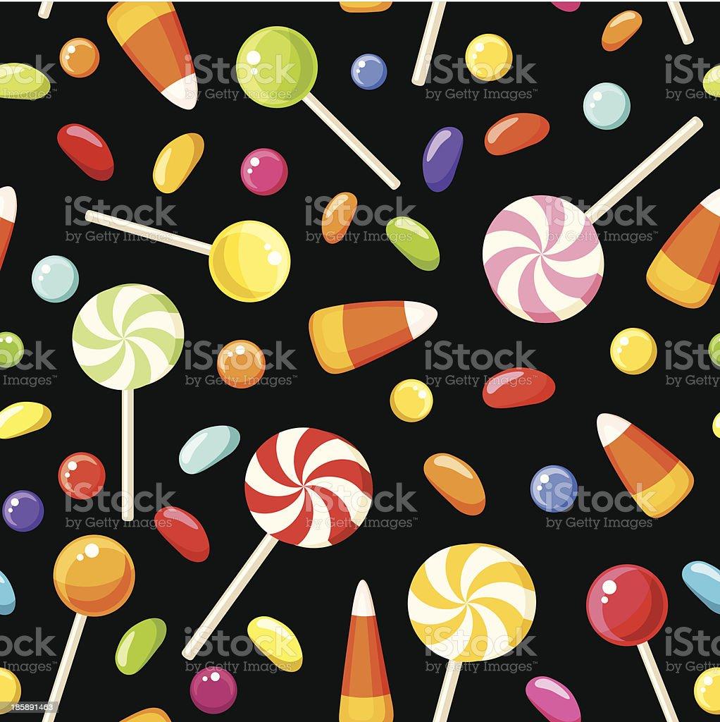 Seamless background with Halloween candies. Vector illustration. vector art illustration