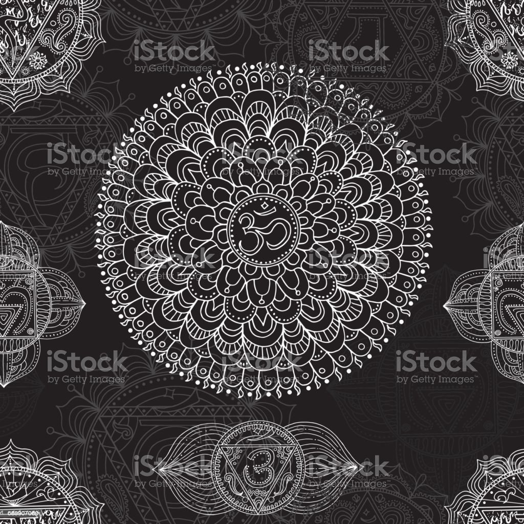 Seamless background with hand drawn chakras of human body vector art illustration