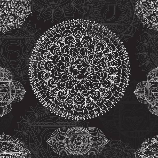Nahtlose Hintergrund mit hand gezeichnete Chakren des menschlichen Körpers – Vektorgrafik