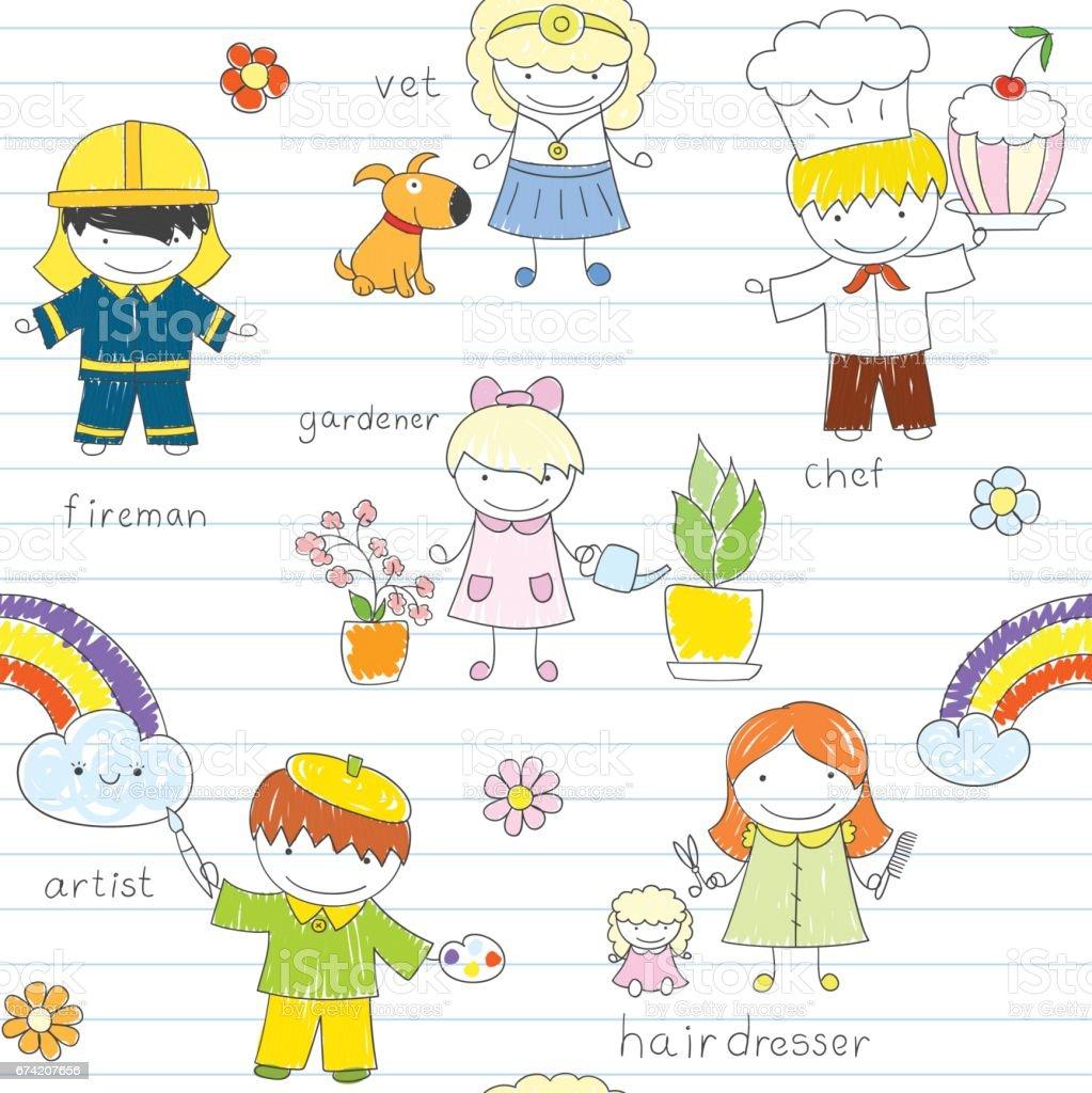Seamless background with happy children - ilustración de arte vectorial