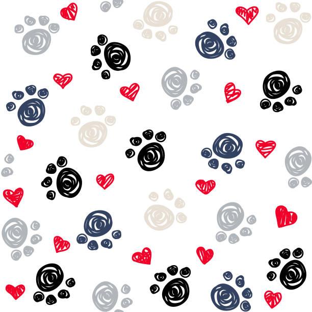 bildbanksillustrationer, clip art samt tecknat material och ikoner med sömlös bakgrund med hjärta och fot avtryck, tassar - sällskapsdjur