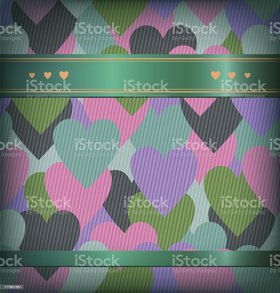 Seamless background with hearts and satiny ribbon royalty-free stock vector art