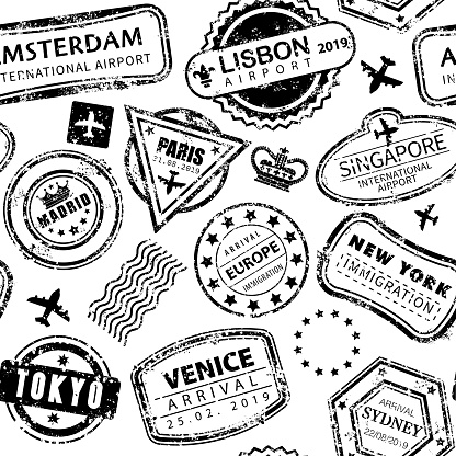 Vector Illustration of a beautiful Seamless Background with International Travel Grunged Stamps
