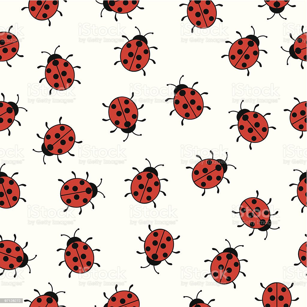 Seamless background with ladybugs vector art illustration