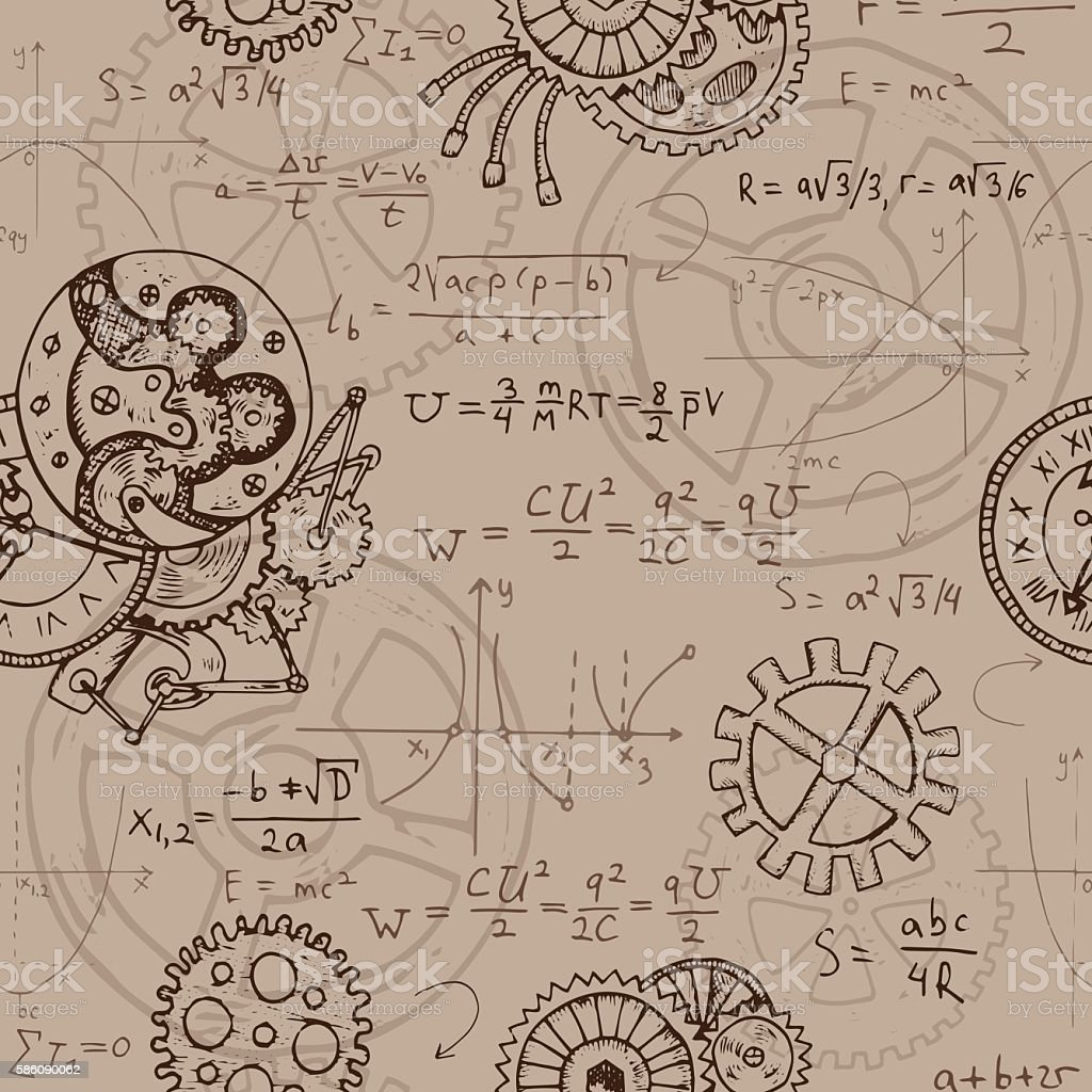 Seamless background with math formulas, cogs, graphics and old mechanisms vector art illustration