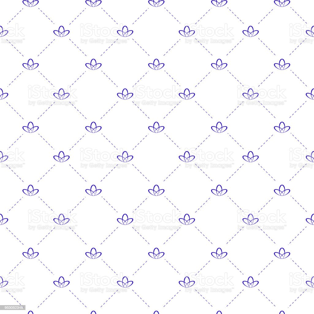seamless mattress texture. Seamless Background With Mattress Texture Stitch - Dashed Lines And A Lily At The Intersection.