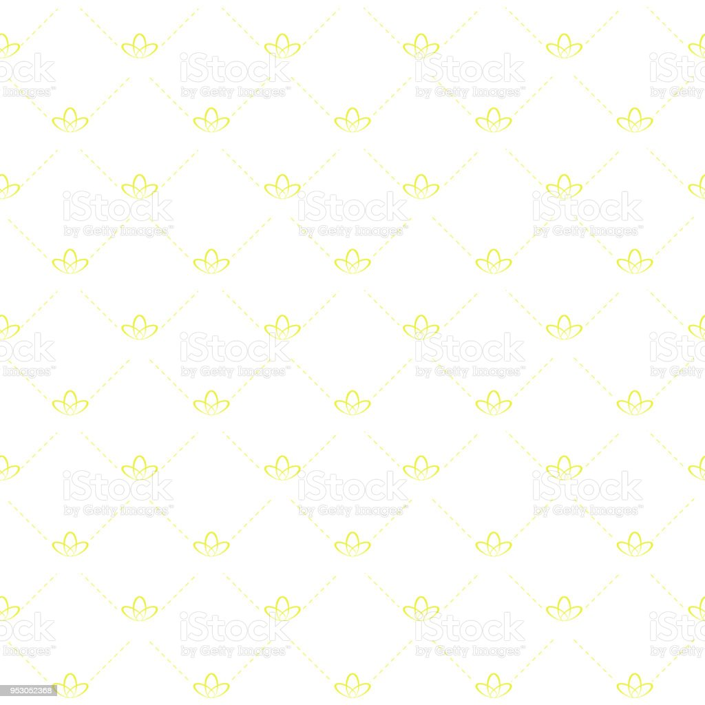mattress texture. Seamless Background With Mattress Texture Stitch - Dashed Lines And A Lily At The Intersection.