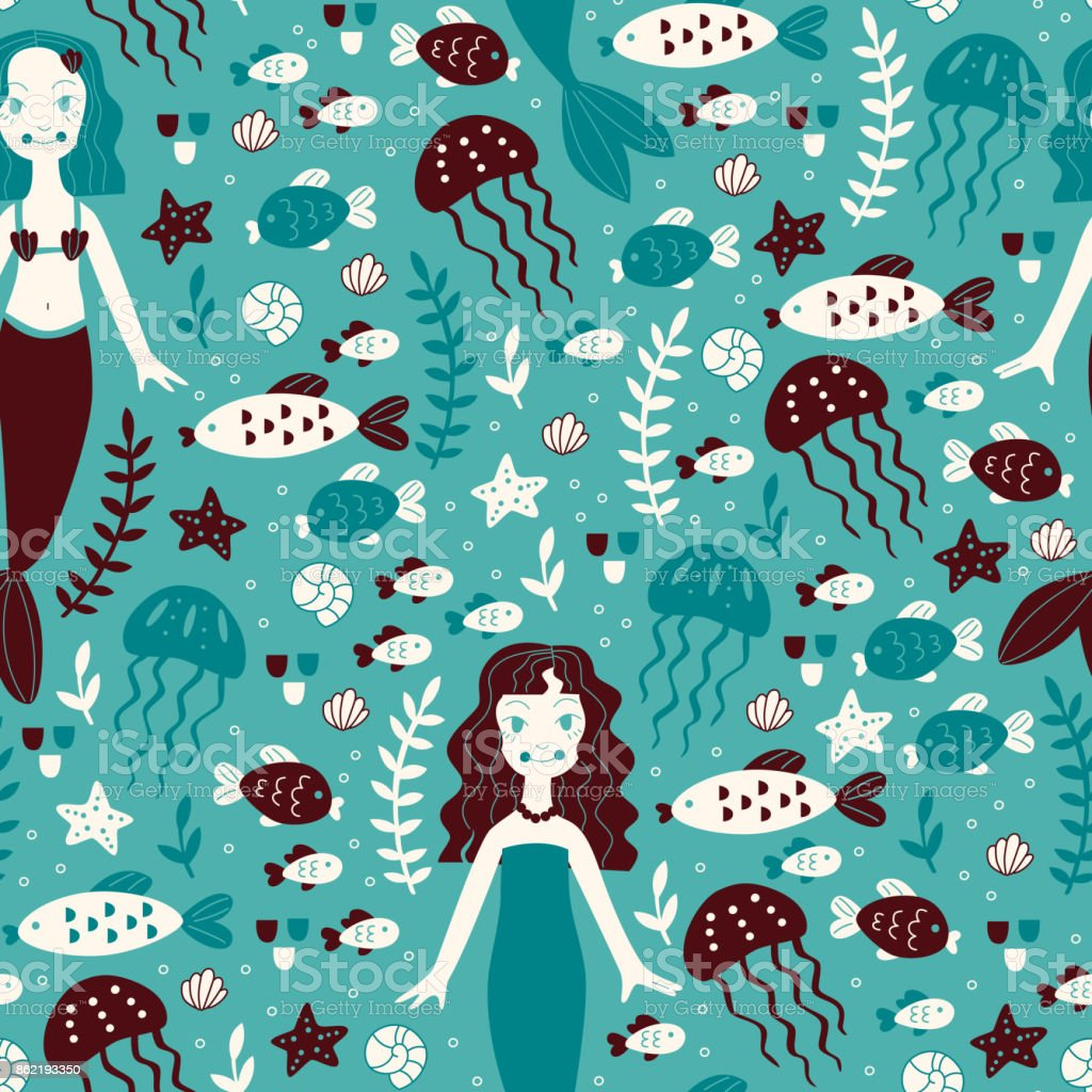 Seamless Background with Mermaid and Marine Animals. vector art illustration