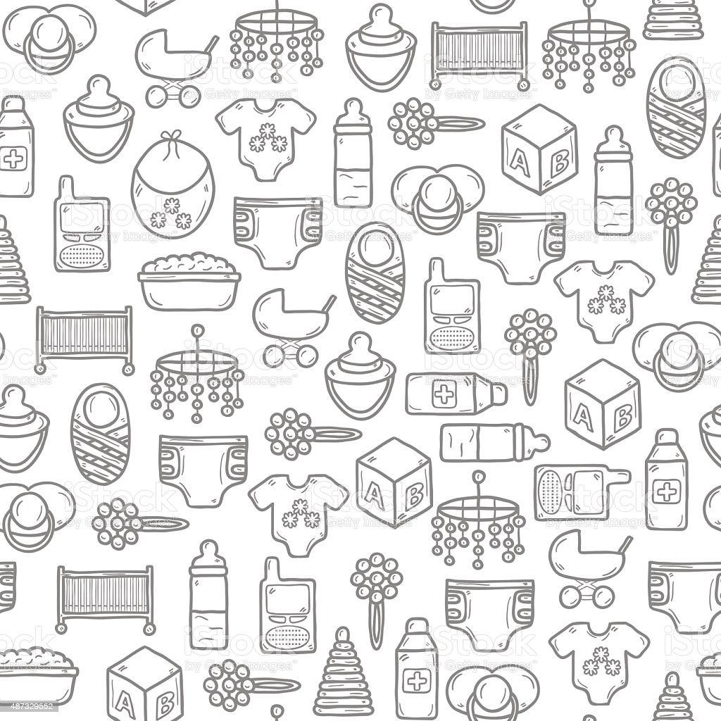 Ilustración de Fondo Sin Costuras Con Los Objetos En Estilo De ...