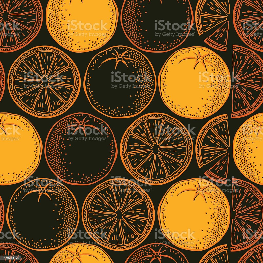 Seamless background with orange. Vector pattern. vector art illustration