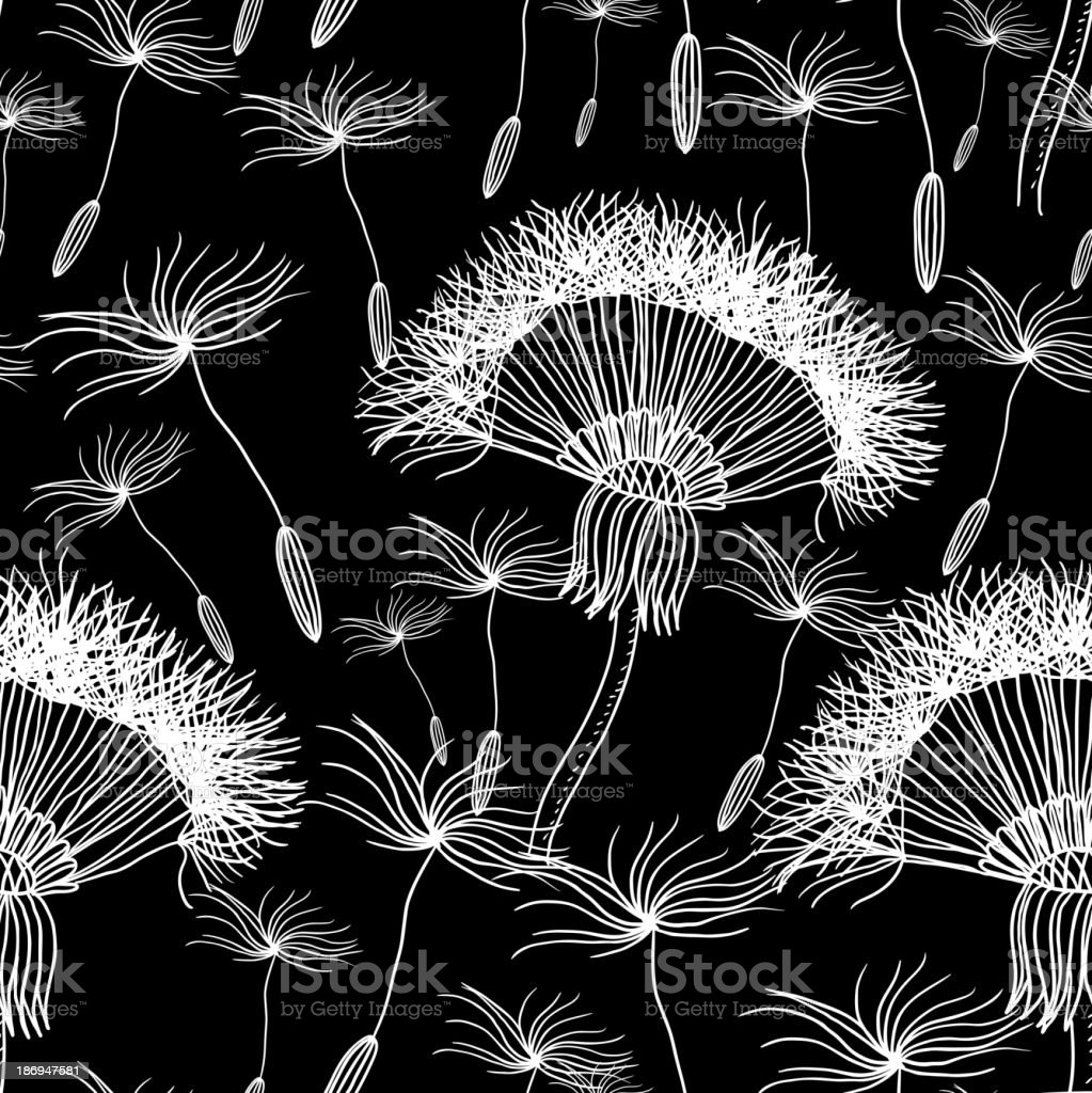 Seamless background with overblown dandelion royalty-free stock vector art