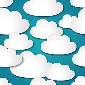 Seamless background with paper clouds