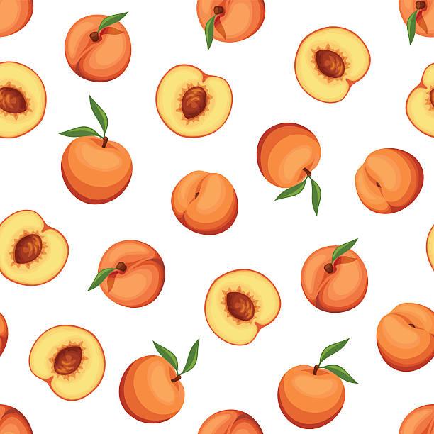 nahtlose hintergrund mit pfirsichen. vektor-illustration. - peach stock-grafiken, -clipart, -cartoons und -symbole