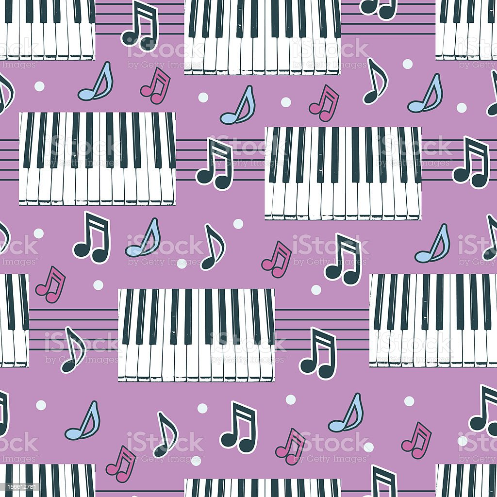 Seamless background with piano and notes royalty-free stock vector art