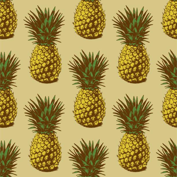 Bezszwowe Tło z Ananasy – artystyczna grafika wektorowa