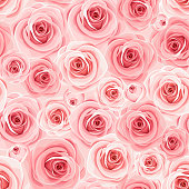 Vector seamless background texture with pink roses.