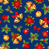 Vector seamless pattern with red and gold Christmas balls, bells, holly and poinsettia on a dark blue background.