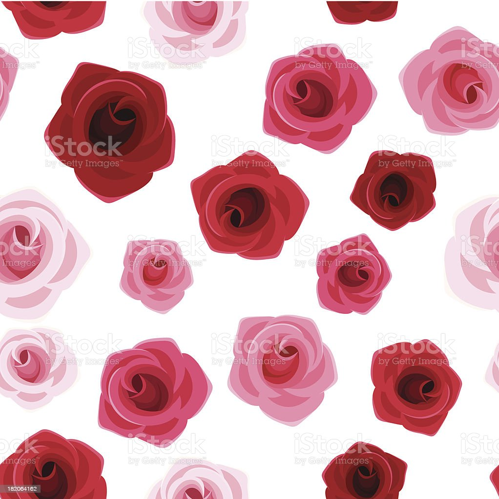 Seamless background with red and pink roses. Vector illustration. royalty-free stock vector art