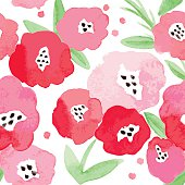 Seamless pattern with abstract watercolor flowers. Red flowers on a white background. Beautiful background for any surface.