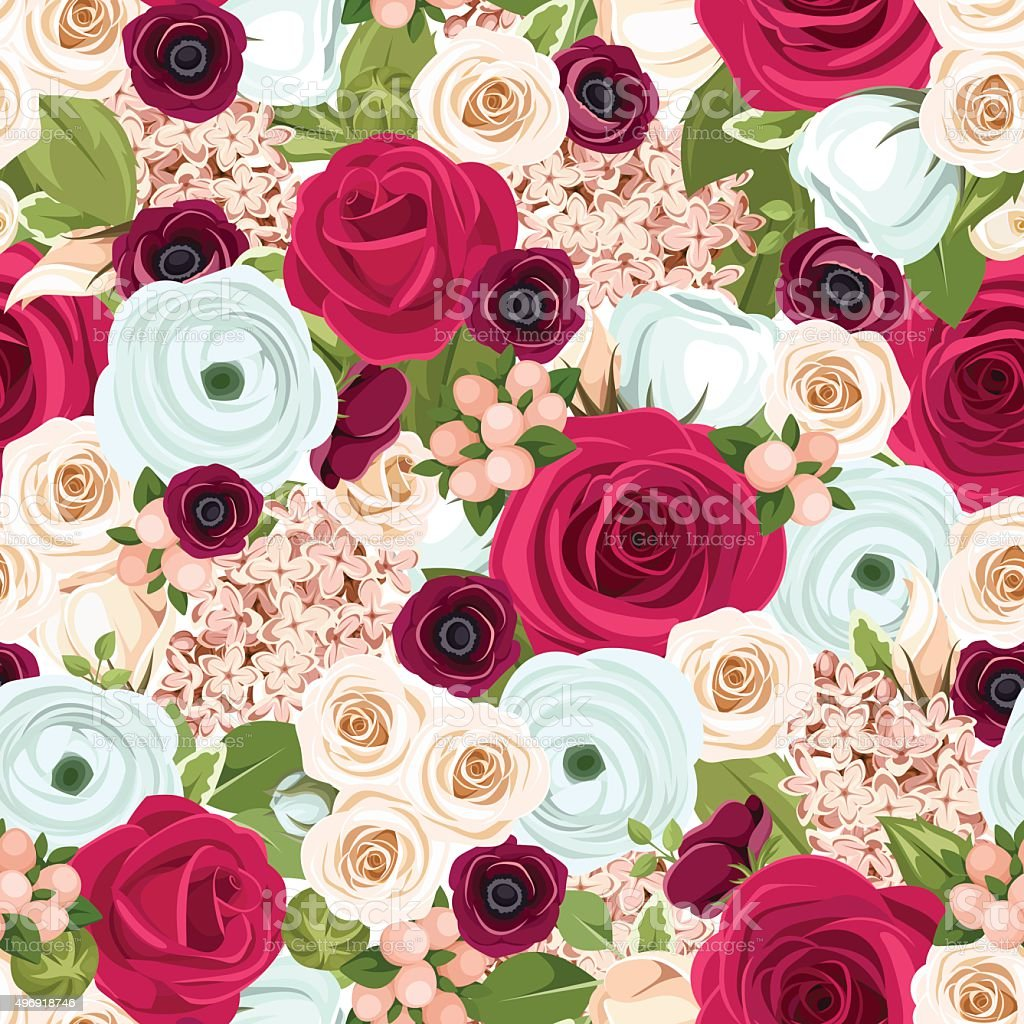 Seamless background with red white and blue flowers vector seamless background with red white and blue flowers vector illustration royalty free izmirmasajfo