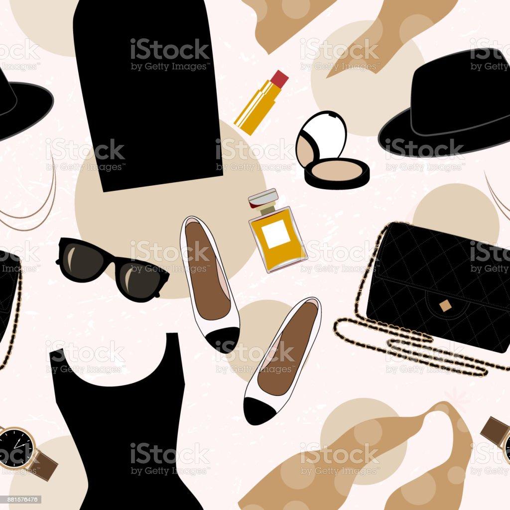 Ilustración de Fondo Transparente Con Objetos Retro De Moda ...