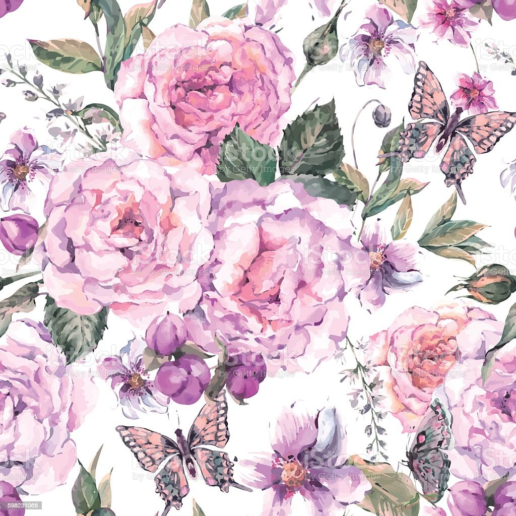 Seamless background with roses and butterfly ilustração de seamless background with roses and butterfly e mais banco de imagens de abstrato royalty-free