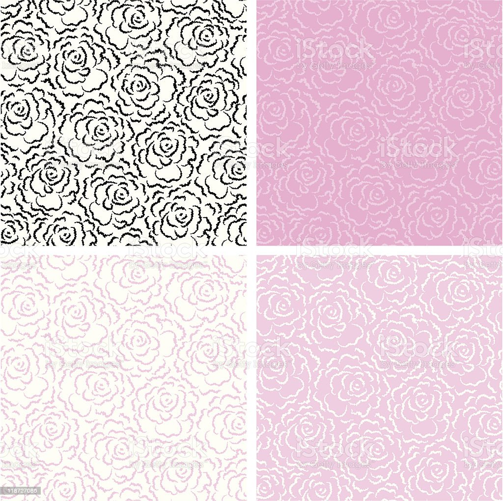 seamless background with roses for valentine's day royalty-free stock vector art