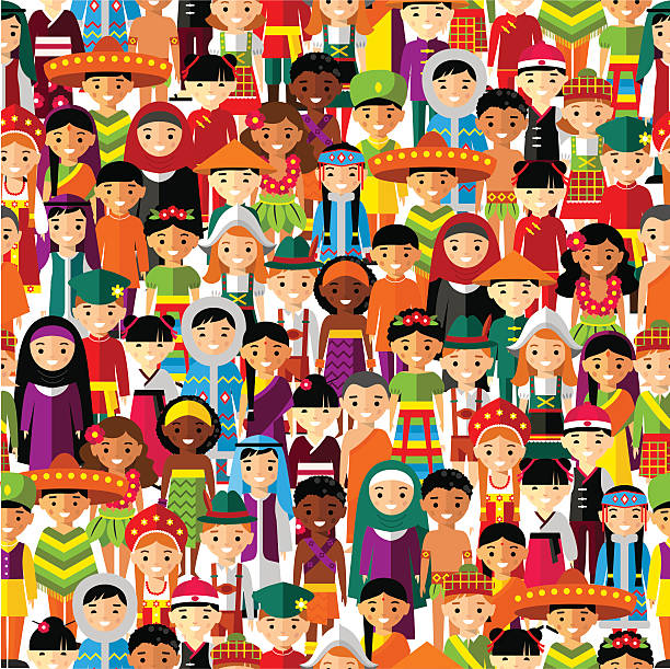 Seamless background with set of multicultural national children. vector art illustration