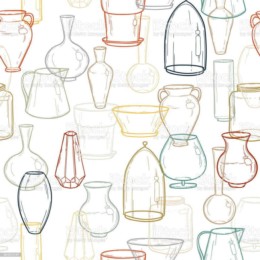 seamless background with silhouettes of vases hand drawing vector