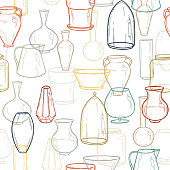 Seamless background with silhouettes of vases. Hand drawing. Vector illustration.