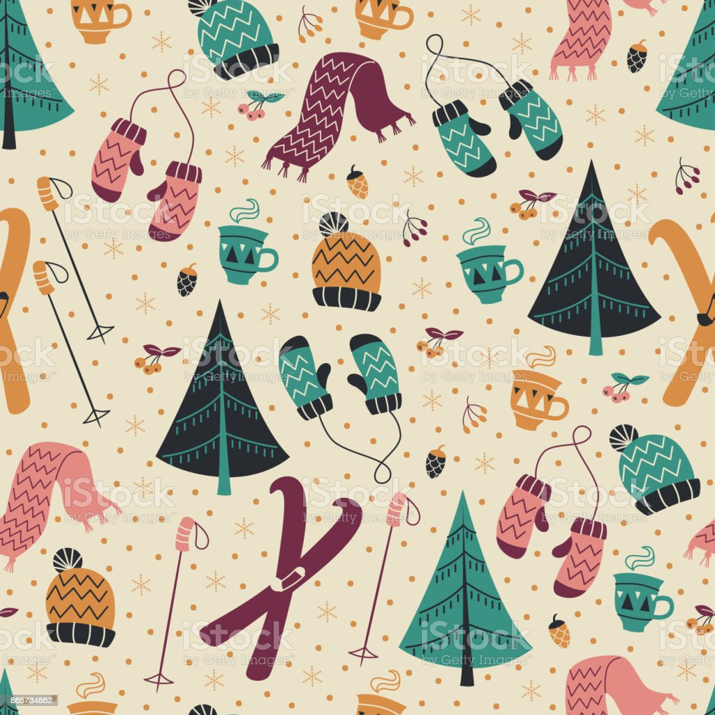 Seamless Background with Skiing, Scarf, Mittens and Snowflakes. vector art illustration