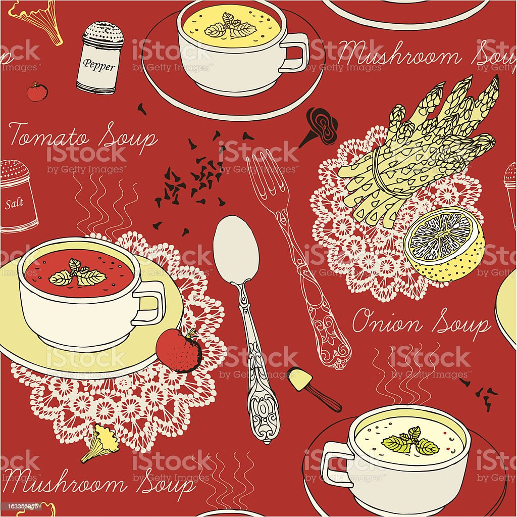 seamless background with soup in ceramic bowl royalty-free stock vector art