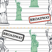 Seamless background with statue of liberty and broadway sign