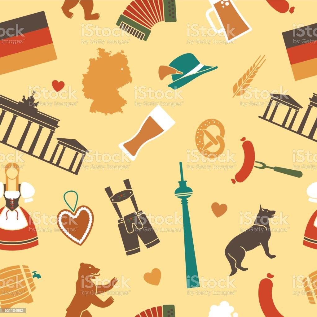 Nahtlose Hintergrund mit Symbolen von Deutschland – Vektorgrafik