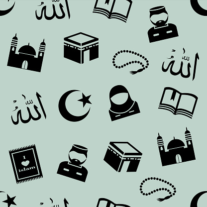 seamless background with symbols of Islam