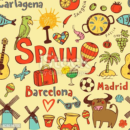 Seamless Background With Symbols Of Spain Stock Vector Art More