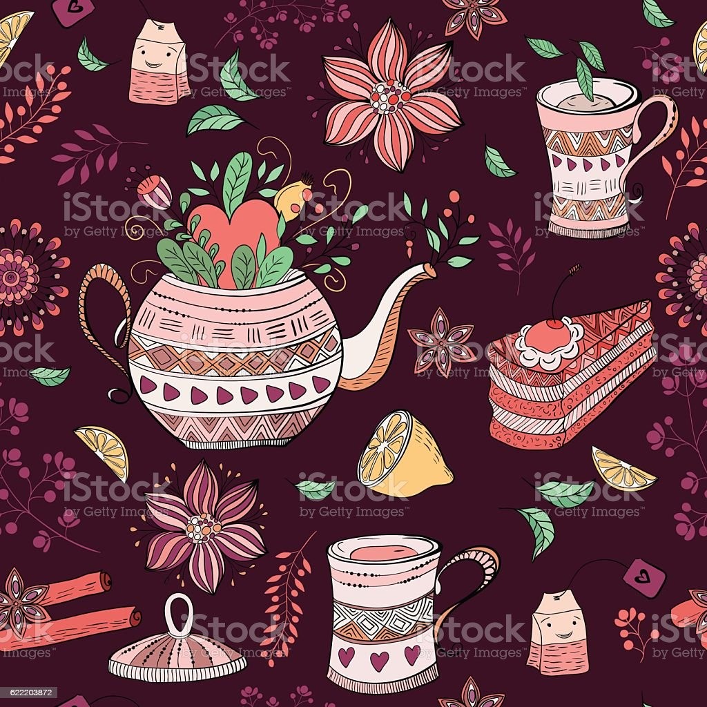 Seamless background with tea  hand-drawn elements vector art illustration