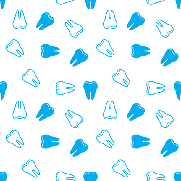 illustrazioni stock, clip art, cartoni animati e icone di tendenza di seamless background with teeth. vector illustration. - denti