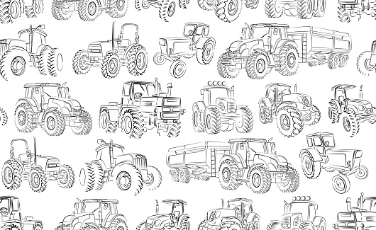 Seamless background with tractor.