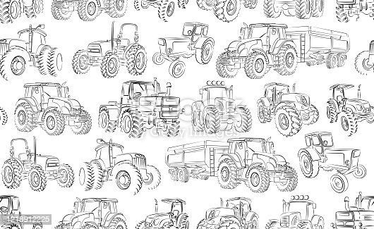 istock Seamless background with tractor. 1218912225
