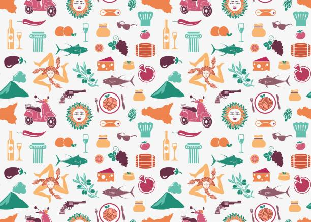 seamless background with traditional symbols of sicily - sicily stock illustrations