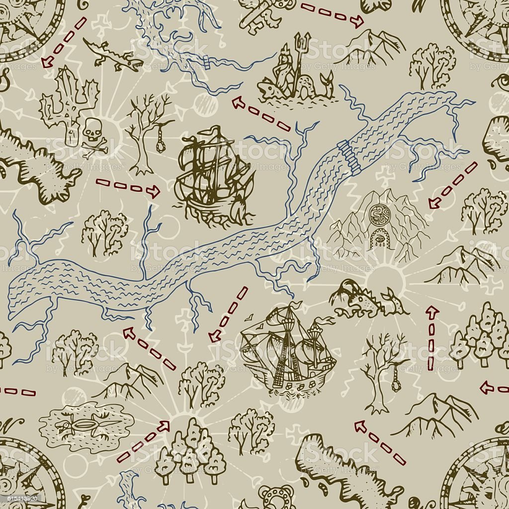 Seamless Background With Treasure Hunt Map Ship And Pirate Symbols