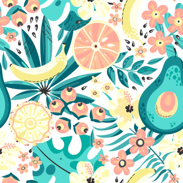 Seamless  background with tropical fruits Seamless pattern with tropical fruits. Vector background. Bright summer fruits illustration. avocado patterns stock illustrations
