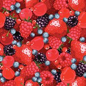 Vector seamless background with strawberries, raspberries, blackberries, cherries, blueberries and current.