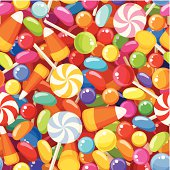 Vector seamless background with various colorful candies.